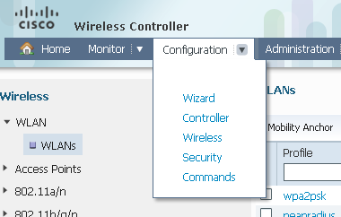 Configuration > Wireless > WLAN > WLANs 7.