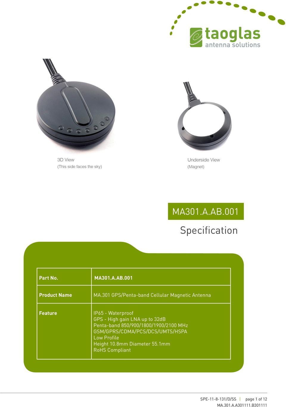 3 GPS/Penta-band Cellular Magnetic Antenna Feature IP65 - Waterproof GPS - High gain