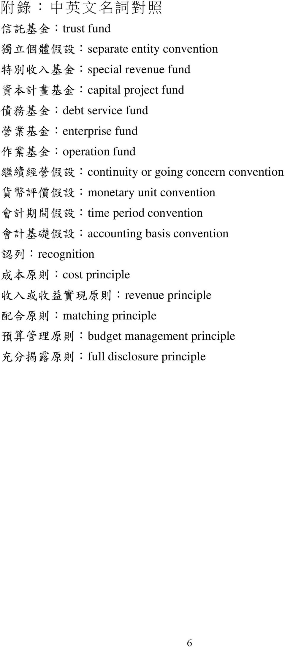 :monetary unit convention 會 計 期 間 假 設 :time period convention 會 計 基 礎 假 設 :accounting basis convention 認 列 :recognition 成 本 原 則 :cost principle