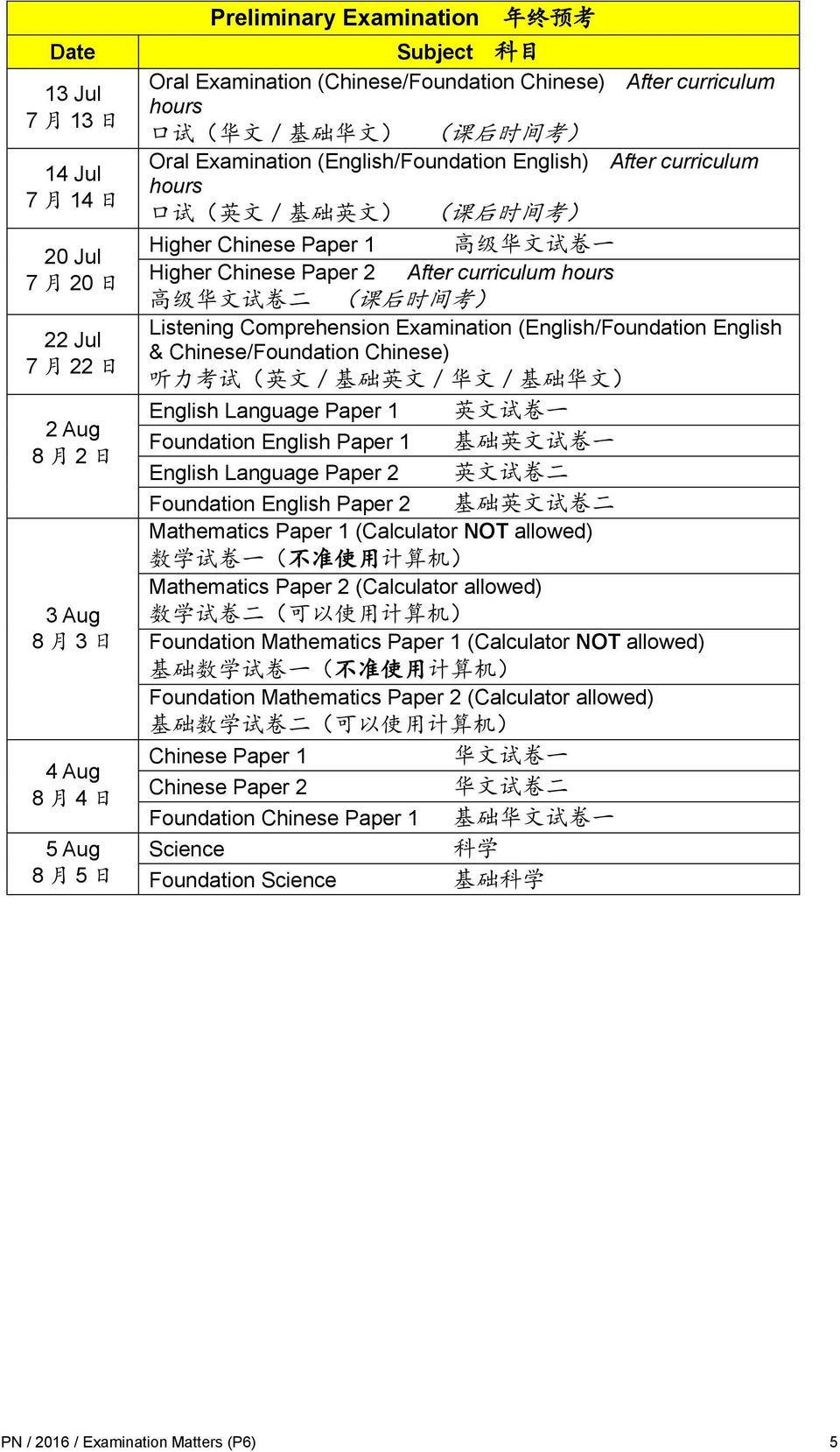 Chinese Paper 1 高 级 华 文 试 卷 一 Higher Chinese Paper 2 After curriculum hours 高 级 华 文 试 卷 二 ( 课 后 时 间 考 ) Listening Comprehension Examination (English/Foundation English & Chinese/Foundation Chinese) 听