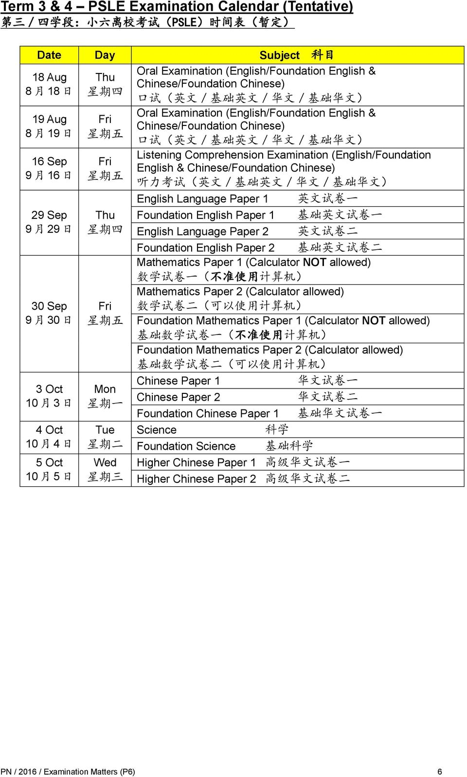 四 Fri 星 期 五 Mon 星 期 一 Tue 星 期 二 Wed 星 期 三 Oral Examination (English/Foundation English & Chinese/Foundation Chinese) 口 试 ( 英 文 / 基 础 英 文 / 华 文 / 基 础 华 文 ) Listening Comprehension Examination