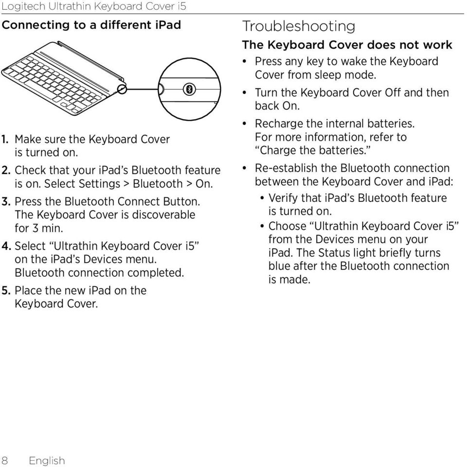 Place the new ipad on the Keyboard Cover. Troubleshooting The Keyboard Cover does not work Press any key to wake the Keyboard Cover from sleep mode. Turn the Keyboard Cover Off and then back On.