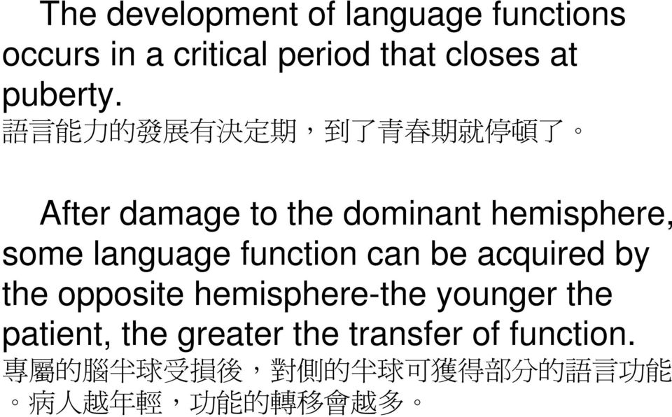 力 了 了 After damage to the dominant hemisphere, some language