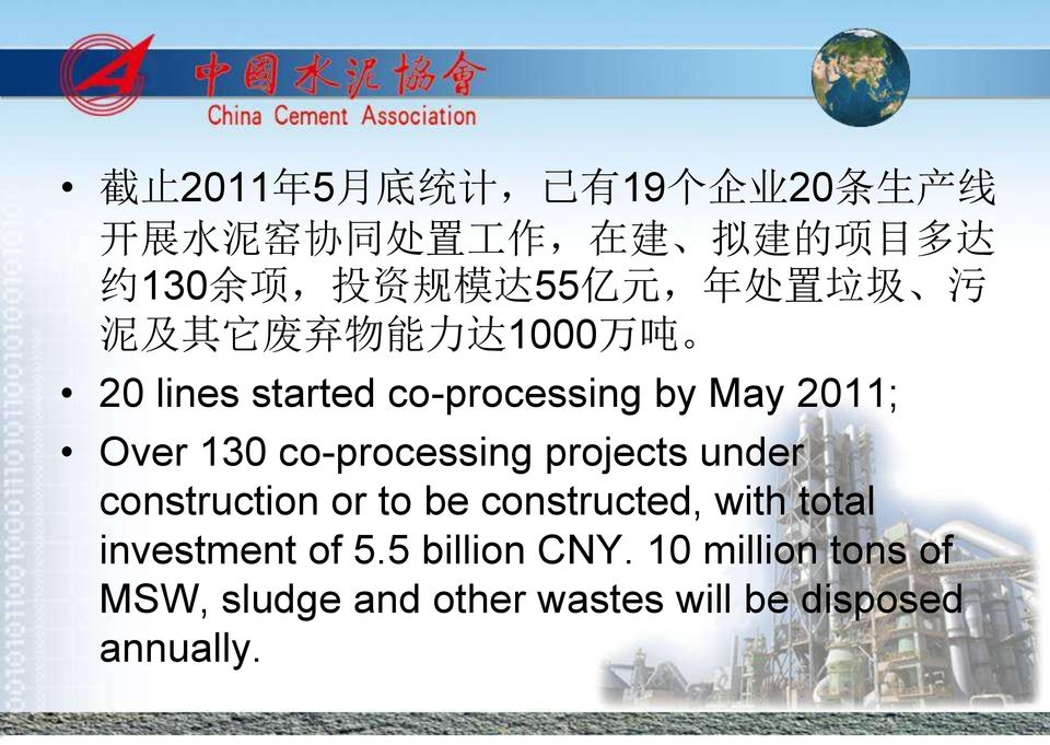 2011; Over 130 co-processing projects under construction or to be constructed, with total
