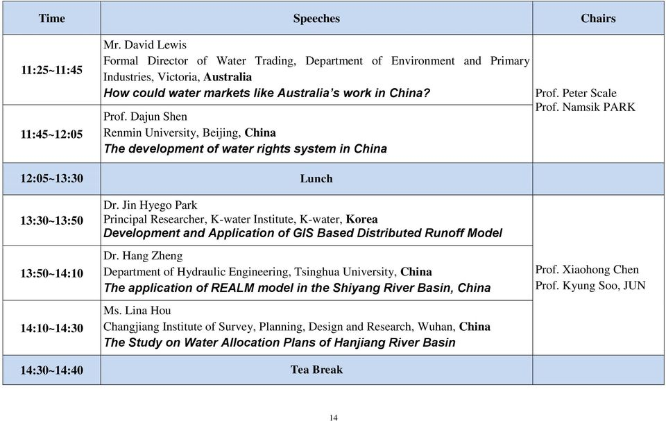 Dajun Shen Renmin University, Beijing, China The development of water rights system in China Prof. Peter Scale Prof. Namsik PARK 12:05~13:30 Lunch 13:30~13:50 13:50~14:10 14:10~14:30 Dr.