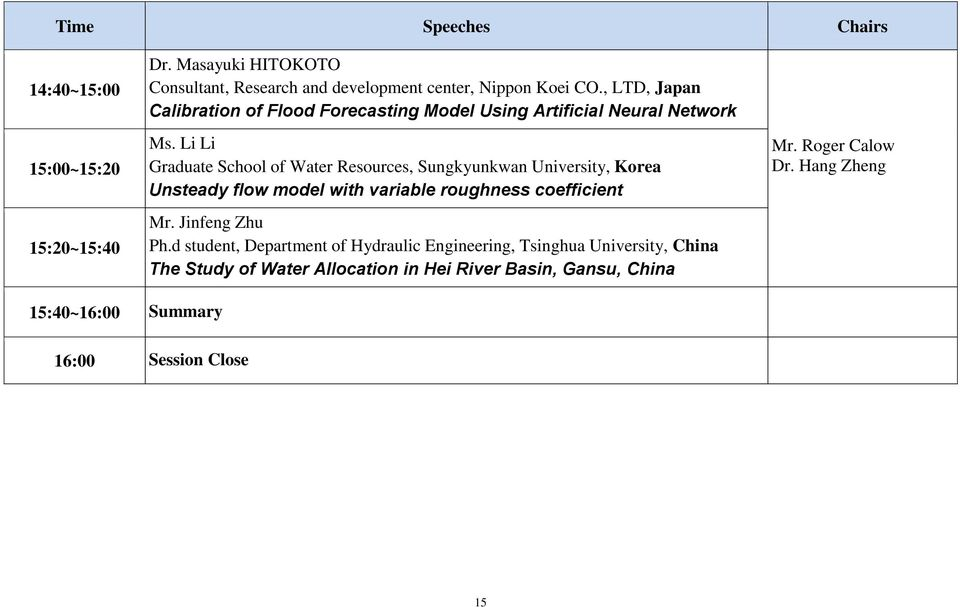 Li Li Graduate School of Water Resources, Sungkyunkwan University, Korea Unsteady flow model with variable roughness coefficient Mr.