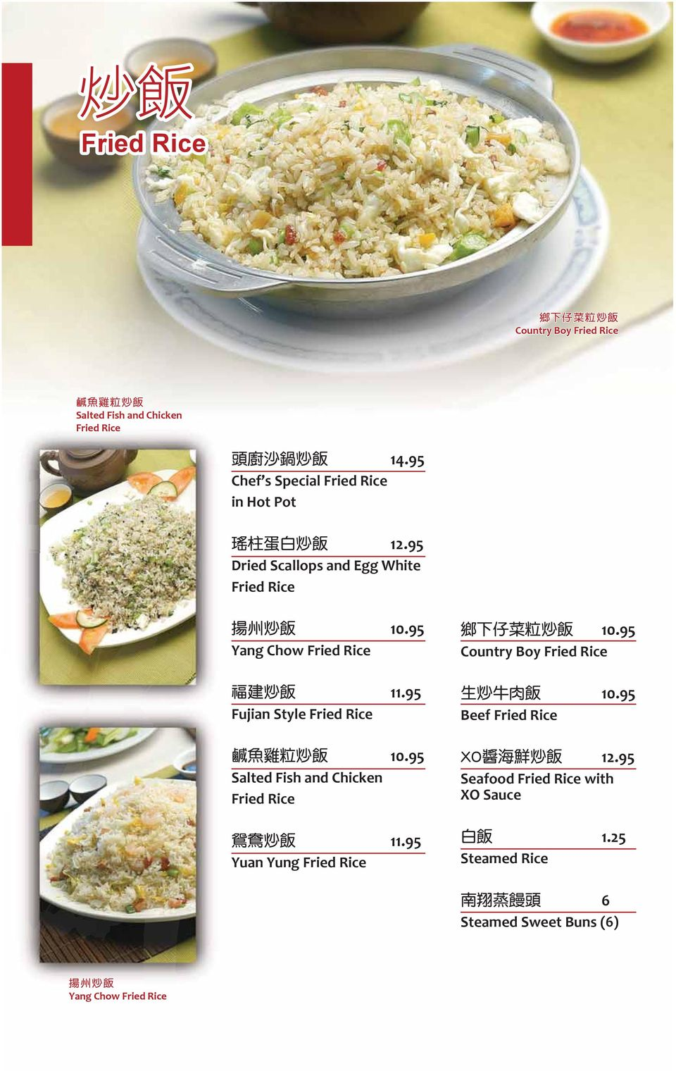 95 Yang Chow Fried Rice 11.95 Fujian Style Fried Rice 10.95 Salted Fish and Chicken Fried Rice 11.
