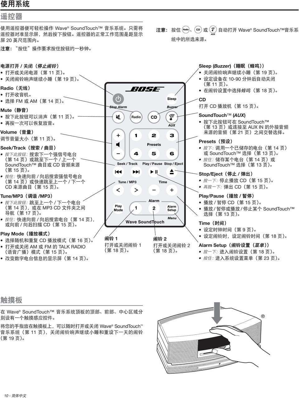 SoundTouch 13 Stop/Eject / CD 15 CD 15 Tune/MP3 /MP3 / 14 MP3 CD 17 / 14 / CD 15 Play Mode CD 16 AM FM TALK RADIO 15