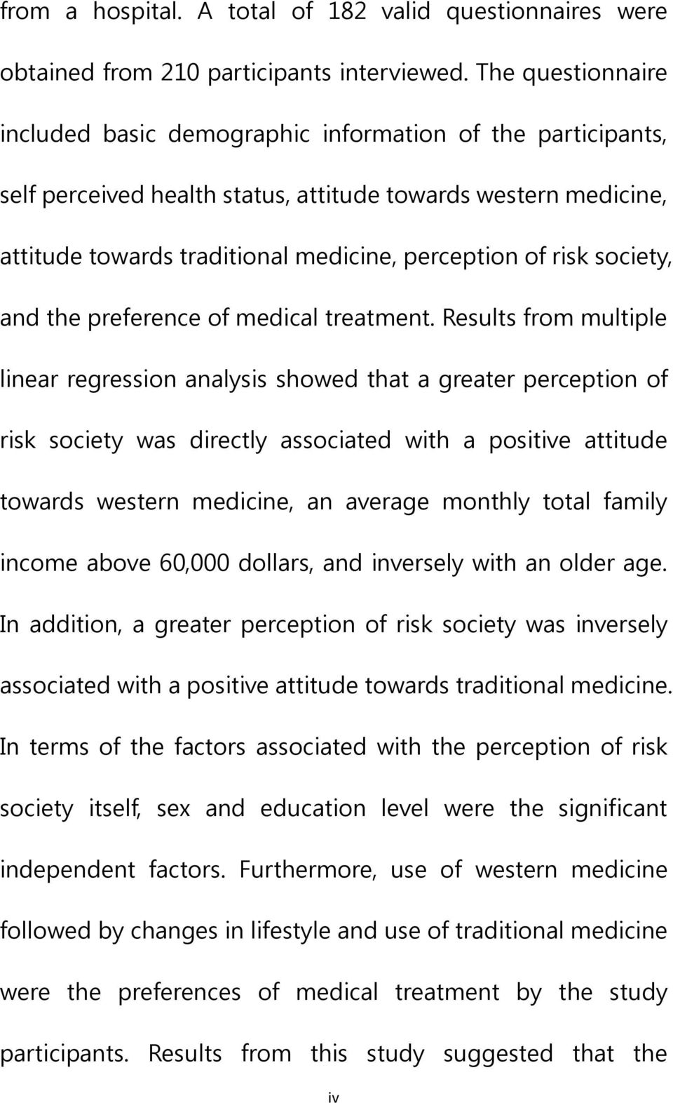 risk society, and the preference of medical treatment.