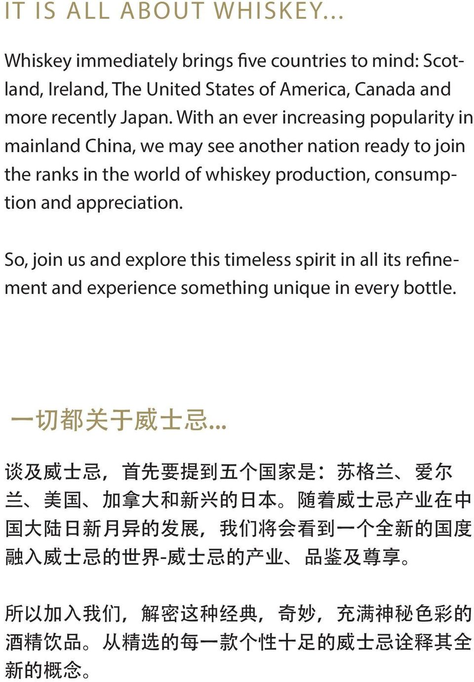So, join us and explore this timeless spirit in all its refinement and experience something unique in every bottle. 一 切 都 关 于 威 士 忌.