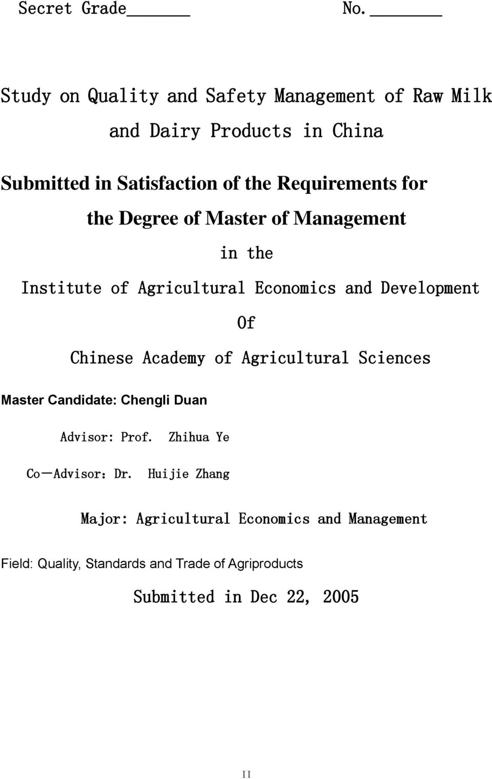 Requirements for the Degree of Master of Management in the Institute of Agricultural Economics and Development Of Chinese