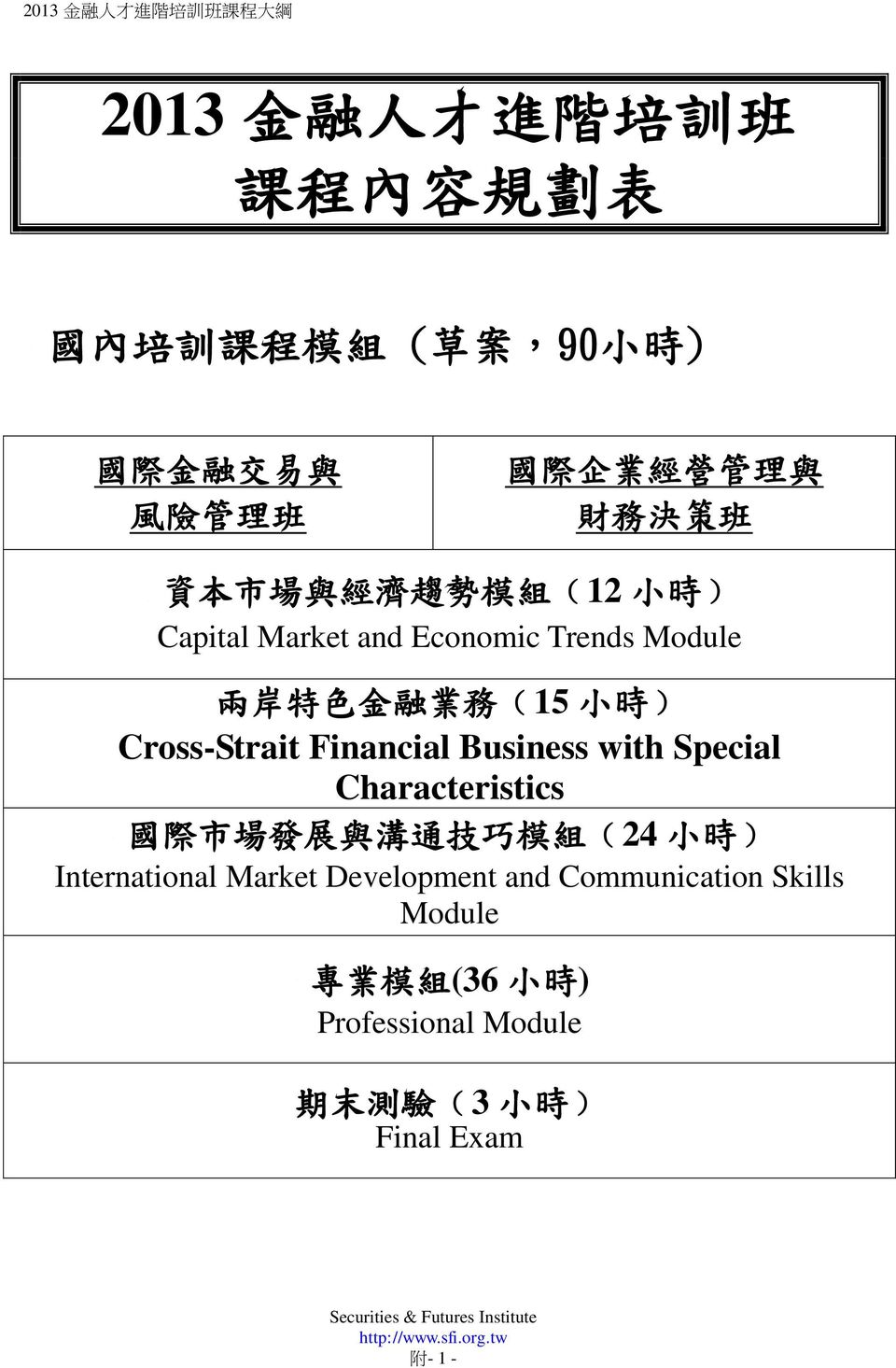 Cross-Strait Financial Business with Special Characteristics 國 際 市 場 發 展 與 溝 通 技 巧 模 組 (24 小 時 ) International