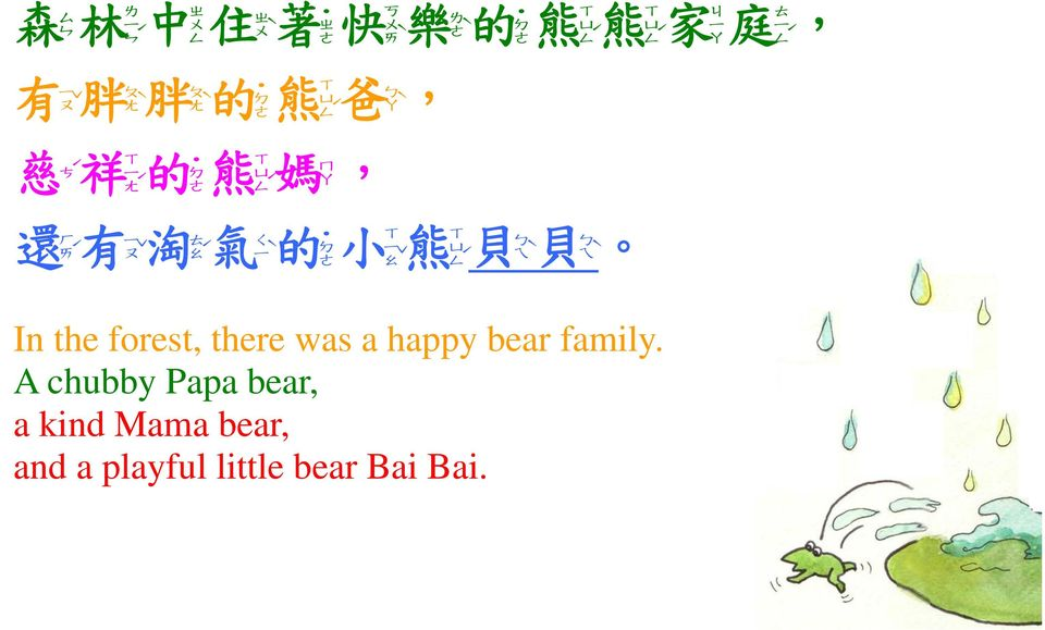 ㄠˊ 氣 ㄑ ㄚ, ㄒ ㄒ ˋ 的 小 熊 ㄩ ㄟˋ ㄜ ㄠˇ ㄥˊ ㄟˋ In the forest, there was a happy bear
