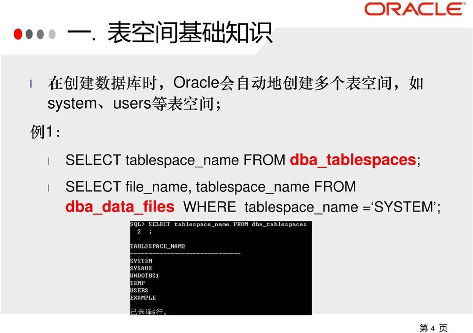 tablespace_name FROM dba_tablespaces; SELECT file_name,