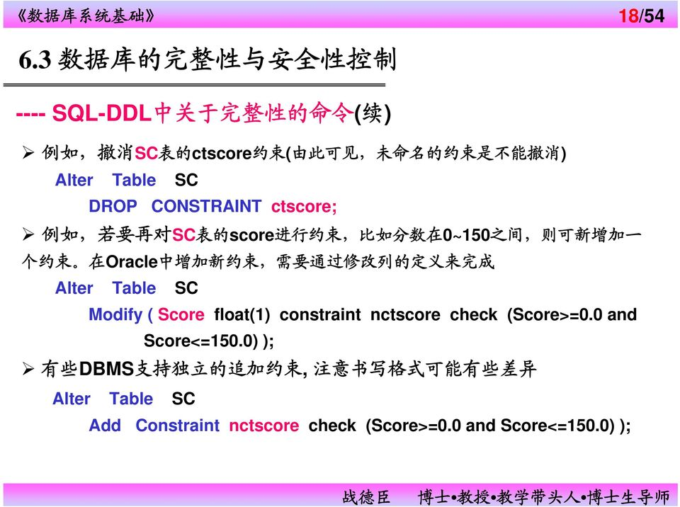 束, 需 要 通 过 修 改 列 的 定 义 来 完 成 Alter Table SC Modify ( Score float(1) constraint nctscore check (Score>=0.0 and Score<=150.