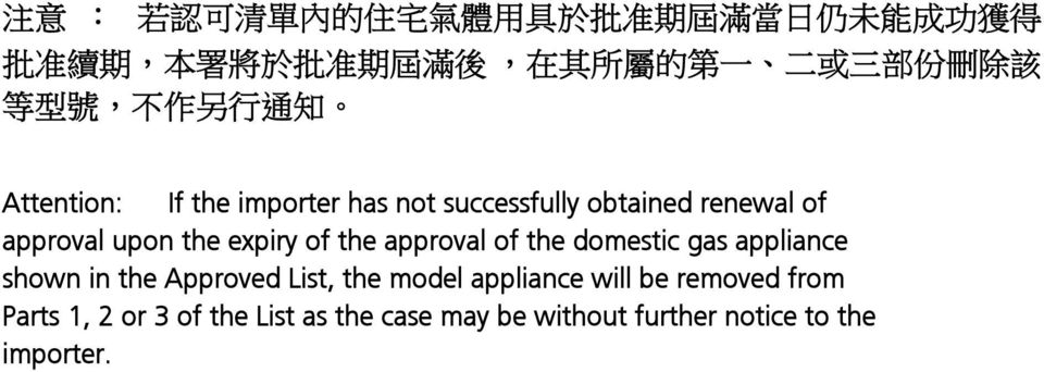 approval upon the expiry of the approval of the domestic gas appliance shown in the Approved List, the model