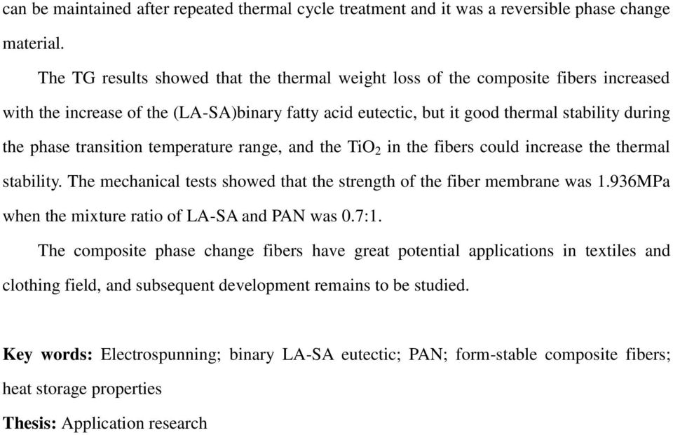 transition temperature range, and the TiO 2 in the fibers could increase the thermal stability. The mechanical tests showed that the strength of the fiber membrane was 1.