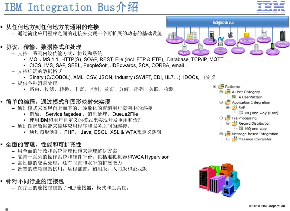 FTP & FTE), Database, TCP/IP, MQTT CICS, IMS, SAP, SEBL, PeopleSoft, JDEdwards, SCA, CORBA, email 支 持 广 泛 的 数 据 格 式 Binary (C/COBOL), XML, CSV, JSON, Industry (SWIFT, EDI, HL7 ), IDOCs, 自 定 义 提 供 各 种