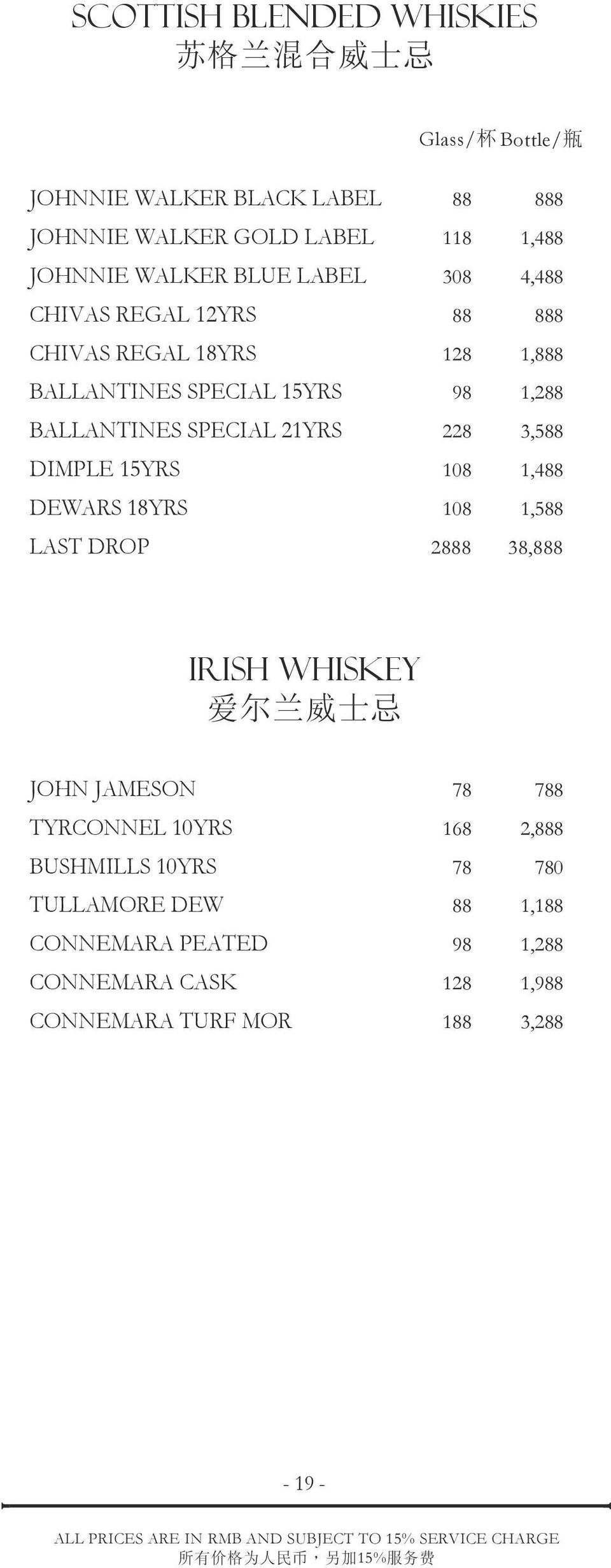 21YRS 228 3,588 DIMPLE 15YRS 108 1,488 DEWARS 18YRS 108 1,588 LAST DROP 2888 38,888 IRISH WHISKEY 爱 尔 兰 威 士 忌 JOHN JAMESON 78 788 TYRCONNEL