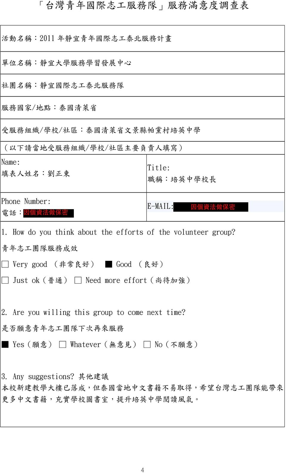 How do you think about the efforts of the volunteer group? 青 年 志 工 團 隊 服 務 成 效 Very good ( 非 常 良 好 ) Good ( 良 好 ) Just ok( 普 通 ) Need more effort( 尚 待 加 強 ) 2.