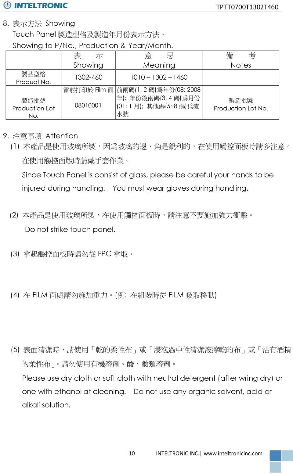 Attention (1) 利 Since Touch Panel is consist of glass, please be careful your hands to be injured during handling. You must wear gloves during handling.