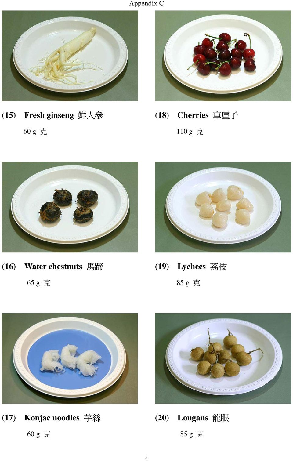 chestnuts 馬 蹄 65 g 克 (19) Lychees 荔 枝 85 g