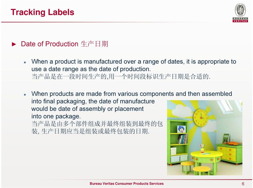 When products are made from various components and then assembled into final packaging, the date of manufacture