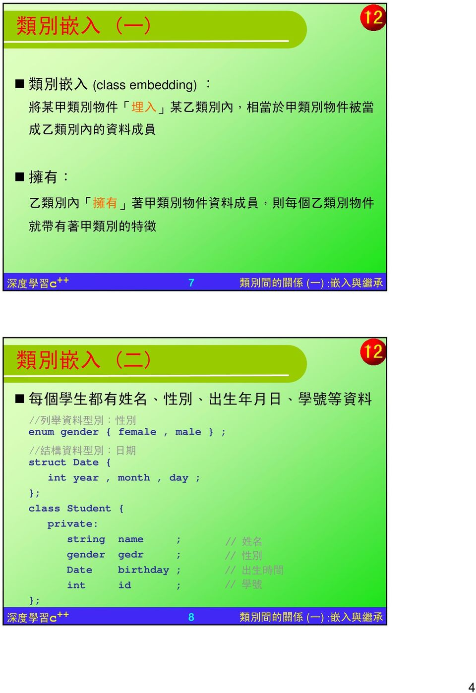 學 號 等 資 料 // 列 舉 資 料 型 別 : 性 別 enum gender { female, male } ; // 結 構 資 料 型 別 : 日 期 struct Date { int year, month, day ; class