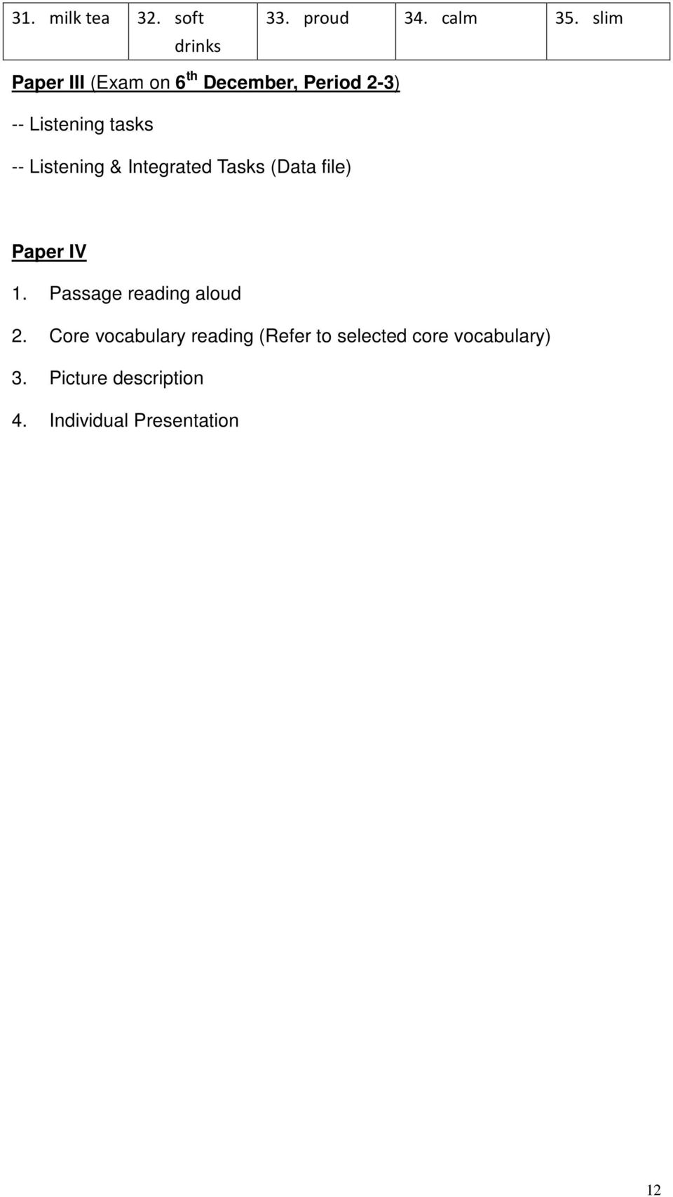 Listening & Integrated Tasks (Data file) Paper IV 1. Passage reading aloud 2.
