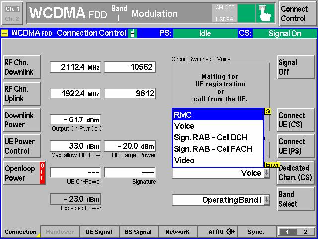 Initiation Setting of CMU200 1. Dedicated Channel select RMC mode. 2.