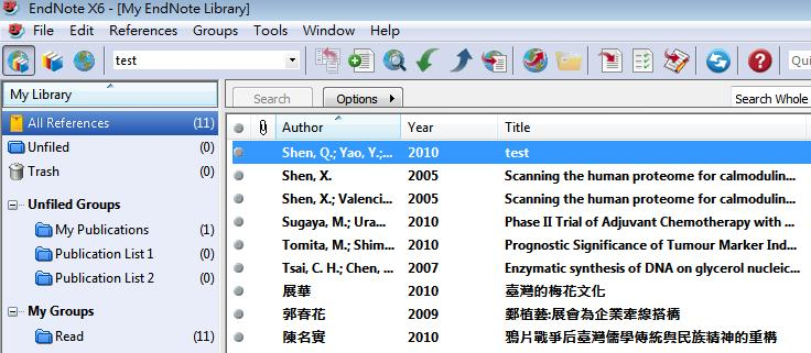Publications Publication List 1 與 Publication List 2 等群組, 同步時, 在 EndNote Library