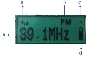 FM 模式 FM MODE a. 音量显示最高音量 85 db volume display,the highest volume is 85dB b. 接收模式 (FM) Receive mode(fm) c. 信号强度指示 Signal strength indicator d. 电池电量提示 battery indicator e.