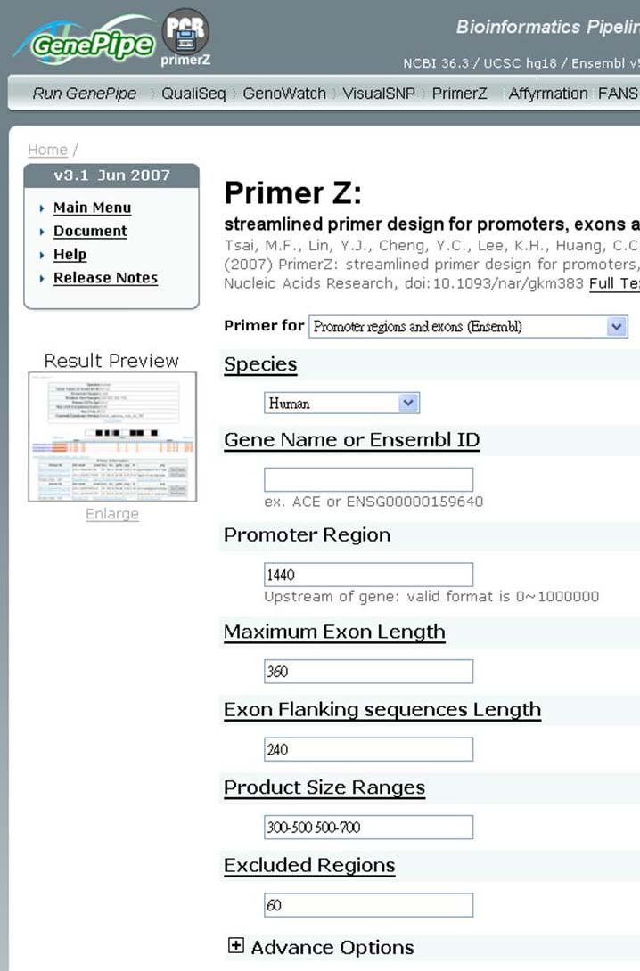 Primer Z home page Design Parameters (I) Users can select an option to design primer for a gene, a SNP, or SNPs by uploading file.