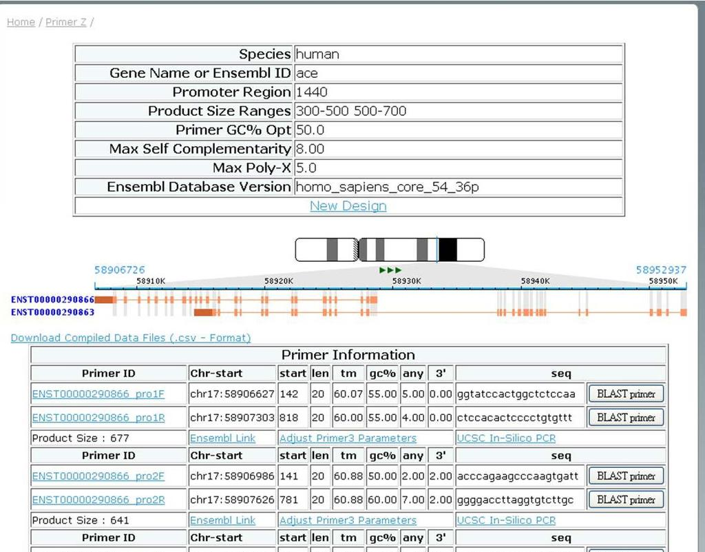 Primer Z: Gene result page (I) Primer s Parameters Graphical index of exons, users can click on it and the page is