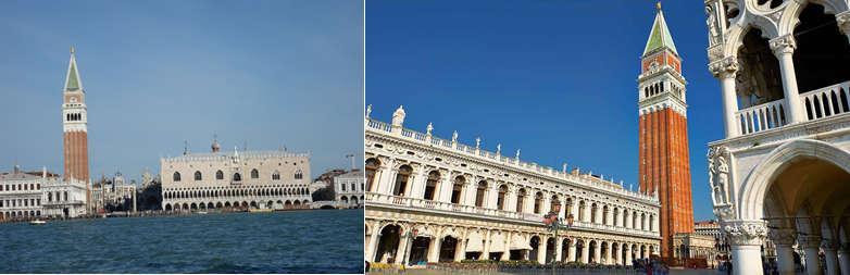 Sightseeing tour of Venice to see the St Mark s Square, the St Mark s Basilica, the Moorish Clock Tower, the Bell Tower, the St Mark & St Theodore s Column,