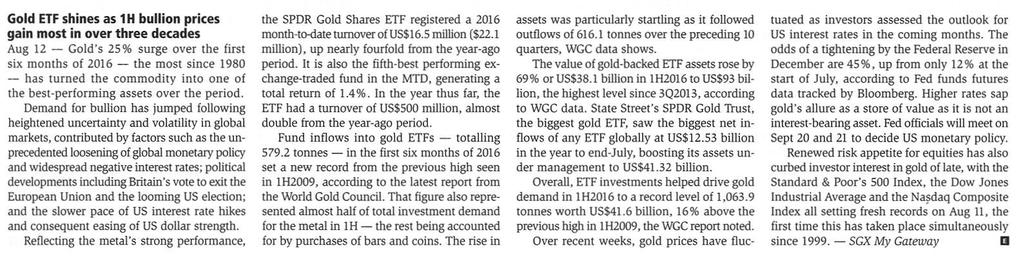 The Edge 2016-08-22 to 2016-08-28 Gold ETF shines as 1H bullion