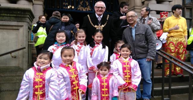 After the Dragon and lion dances we started the procession through the city centre, along London Road and back to the Sheffield Chinese Association.
