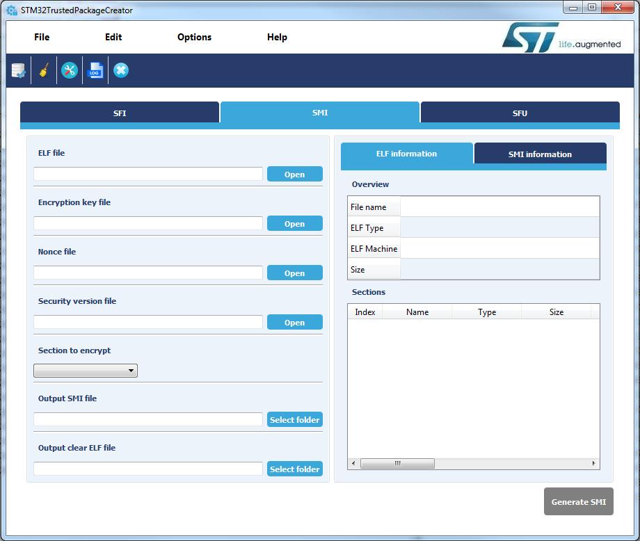 STM32 Trusted Package Creator 工具图形用户界面 (GUI) 图 14.