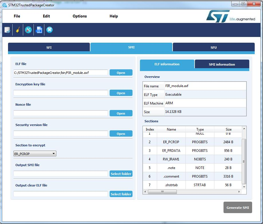 STM32 Trusted Package Creator 工具图形用户界面 (GUI) 4.