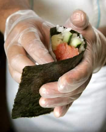 Raw Vegetable Sushi 1 sheet of seaweed Put in shredded carrots, about 2 spoonfuls lay on cross the seaweed about 1 and half inch thick and half inch high Top with sesame powder, shredded papaya or